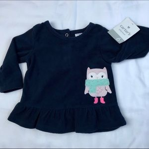 CARTER'S - Infant Girls Fleece Top w/ Owl NWT